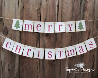 CHOOSE YOUR HOLIDAY words - Merry Christmas banner - red green  4x4 in panels - celebration - vintage banner - holiday banner - IATY515
