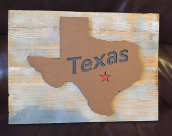Rustic, reclaimed wood Texas wall hanging