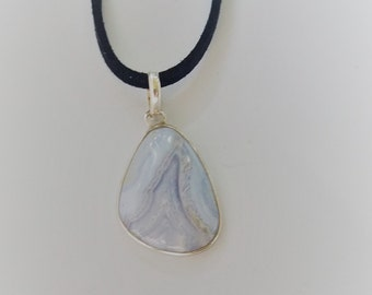 Sterling Silver Blue Lace Agate Pendant, on Faux Suede Cord Necklace