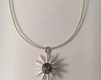Satin Silver Sunburst Necklace
