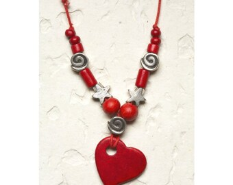 Ceramic Red Heart Necklace, Heart Jewelry, Christmas Gift Love Silver star whimsical Bead Adjustable for her under 25