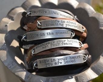 Inspirational Leather Bracelet - Quote Jewelry - Braided Leather Bracelet - Stamped Jewelry - Leather Wrap Cuff - Womens Leather Bracelet