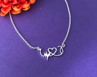 Nurse necklace LPN  RN necklace / Nurses / Nursing Student / Nurse gift - ekg - heart - stethoscope necklace