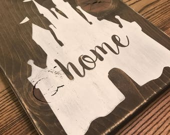 Rustic Home Disney Inspired Castle Wood Sign