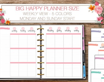 Happy planner printable weekly planner inserts -  Big Happy Planner - Letter size