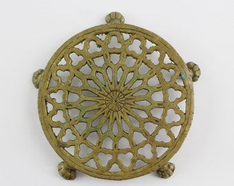 Vintage Cast Brass Trivet with Lion Paw Feet - Ornate Footed Hot Plate Kitchen Decor