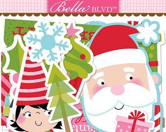 Bella Blvd Santa Stops Here Ephemera, Christmas-Themed Scrapbook Paper Pieces/Embellishments
