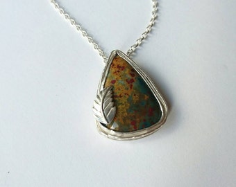 Sterling silver handmade natural bloodstone cabochon necklace with leaf design, Hallmarked