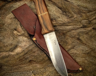 Hand Forged Bush craft Knife w/ FREE sheath; Hunting, Camping & Outdoors Knife; EDC; Kitchen Chef's Knife;