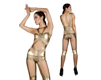 Gold Jumpsuit, Holographic Bodysuit, Metallic Catsuit, Futuristic Clothing, Stage Wear, Aerial Silks, Burning Man Outfit, Leotard,LENA QUIST
