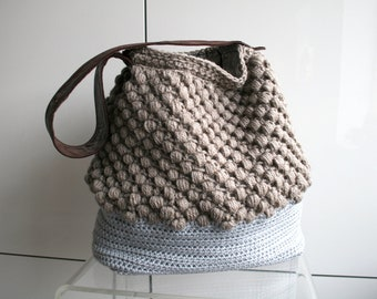 City Tote crochet pattern upcycled leather bag, tote crochet purse 273 Instant Download