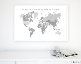 Grayscale world map etsy 36x24 grayscale printable world map with countries and names distressed vintage grayscale world gumiabroncs Gallery