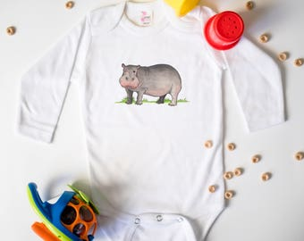 Hippo baby clothes, Cute baby bodysuit, Unique baby clothes, Baby shower, Safari, Jungle, Animal, Shower Gift, Hippo gifts, Hippopotamus