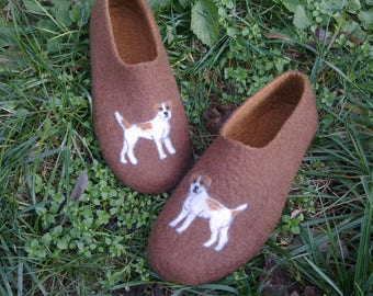 Men felt slippers Wool clogs Jack Russel terrier portrait Gift for Dad Anniversary gift Dog lovers gift Dog slippers Man wool shoes