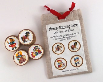 Memory Matching Game Wood Decoupage Cowboys Cowgirls