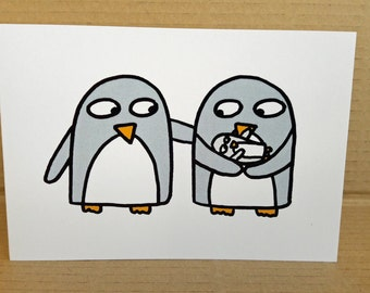 New Baby Card - Birth Card  - Funny Penguin Greeting Card - Baby shower invites  -Blank inside