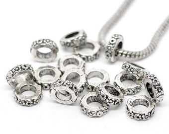 2 CHARMS beads rings flowers METAL Silver 3 MM x 10 MM hole 6 MM COMPATIBLES snake * E112