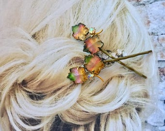 Bridal Woodland Goddess Leaf Hairpins Bobby Pins Vintage 1940 1950 Molded Art Glass Wedding Bridesmaid