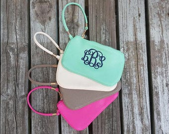 Monogrammed Wristlet Wallet | Monogrammed Clutch | Faux Leather Wristlet Clutch | Bridesmaid Gifts | Gifts for Her | Personalized Wristlet