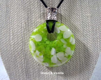 Large Offset Round Fused Glass Pendant Necklace - Blue, White, Pink, Vanilla, Green, Turquoise Options