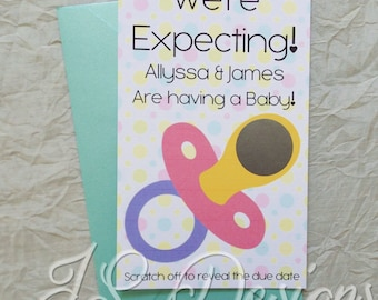 Scratch Off Baby Announcement / Gender Reveal Invitations x 10 pack