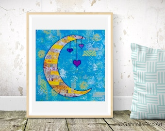 Nursery Print Moon Collage with Hearts