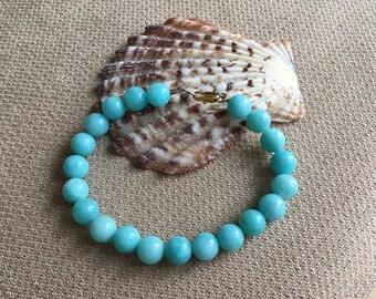 Amazonite Bracelet, Stacking Bracelet Aqua Blue Bracelet Semiprecious Gemstones 14K Gold Filled Beach Bracelet Beaded Bracelet Men Women