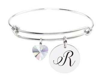 Initial Bangle made with Crystals from Swarovski - R - SWABANGLE-GLD-AB-R - Silver