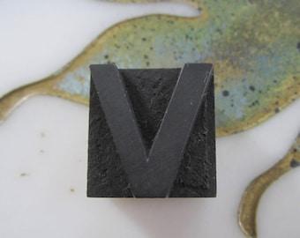 Wood Letterpress Type Printing Block Letter V