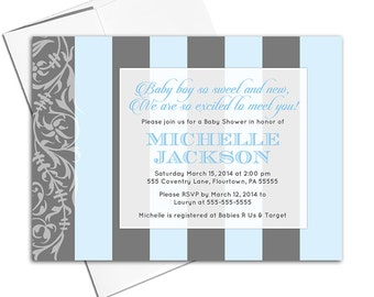 Custom baby shower invitations | blue and gray boy shower invite modern stripes | printable or printed - WLP00703