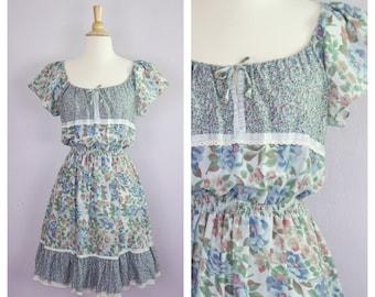 Vintage 1970's Blue Floral Calico Ruffle Flutter Sleeve Off Shoulder Peasant Dress S/M