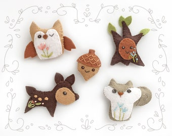DIY Mini Felt Woodland Creatures plush Set 2 PDF sewing pattern felt animal finger puppet owl deer squirrel tree patterns ornaments