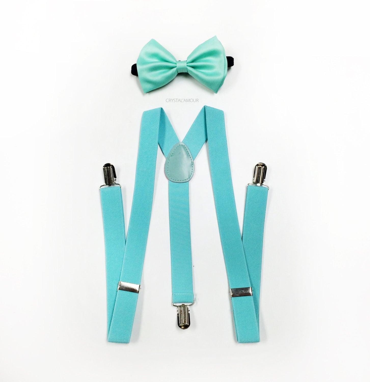 Minze grüne Krawatte und Hosenträger set Minze blaue