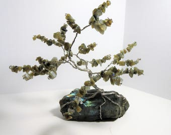 Labradorite Gem Tree  wire sculpture, Tree of Life
