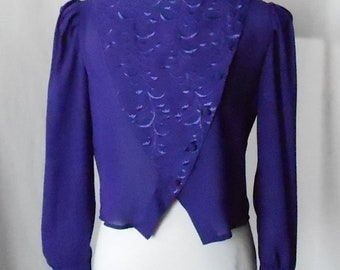 Vintage 1970s 1980s Royal Purple First Glance Blouse, Vintage First Glance Blouse, 1970s First Glance Top, 1980s First Glance Top