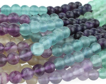 "Dakota Stones Banded Matte Fluorite 6mm Round Gemstones. 8"" Strand. FLU6RD-M-8"