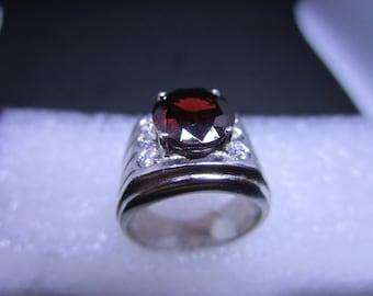 Sterling Silver Garnet Ring Size 7