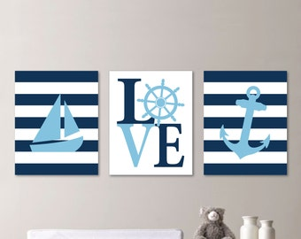 Baby Boy Nursery Art - Nautical Nursery Decor - Nautical Nursery Print -Nautical Nursery Art - Navy White Lt Blue. Nautical Bedroom. NS-540