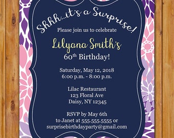 Surprise Birthday Party Celebration Invitation Purple Lilac Pink Floral Burst 50th 60th Bridal Shower 5x7 Digital JPG DIY Printable (210)