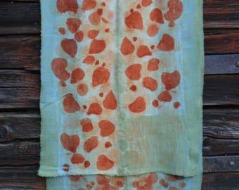 Light scarf in beige and light blue, orange, merino wool, eco-print, hand made from the FILZHAUS16, hand dyed