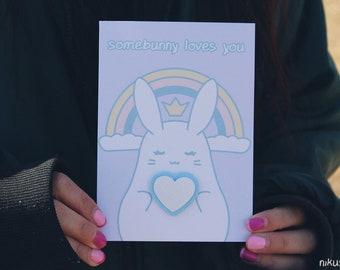 "himesagi A6 ""somebunny loves you"" greeting card"