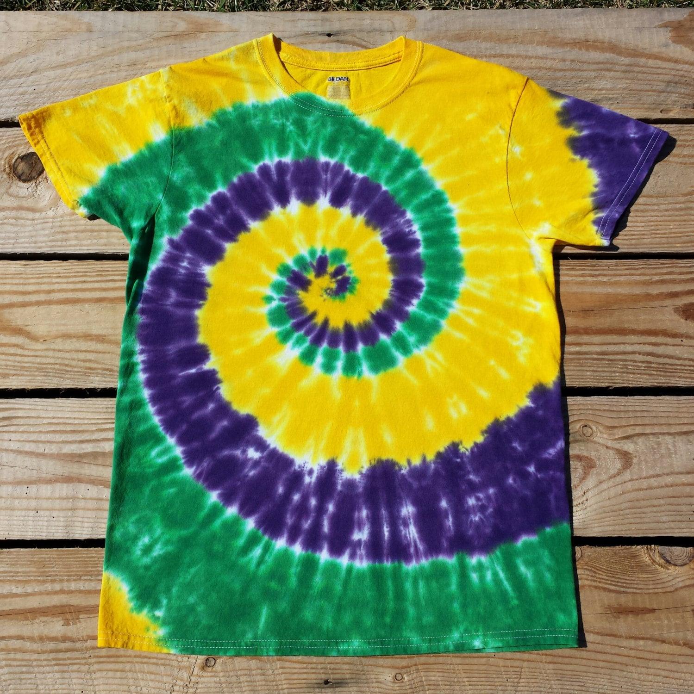 Adult Mardi Gras Tie Dye Shirt S M L XL XXL 3XL Purple Green