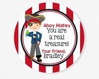 Pirate Valentine's Day Tags, Gold Coins Tag, Pirate Valentines, Class Treats Tag, Valentines Personalized