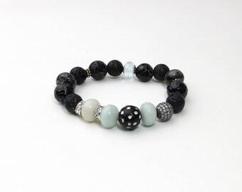 Black Stretch Bracelet | Boho Bracelet | Artisan Bracelet | Black Stretch | Tribal | Bone