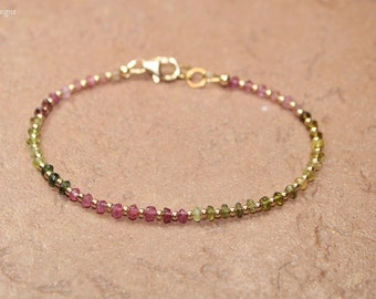 Watermelon Tourmaline Bracelet, Gold Filled Beads, Watermelon Tourmaline Jewelry, Shaded, Ombre, October Birthstone