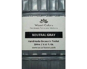 Encaustic Neutral Gray Tablet Wax Paint made of beeswax and best damar resin