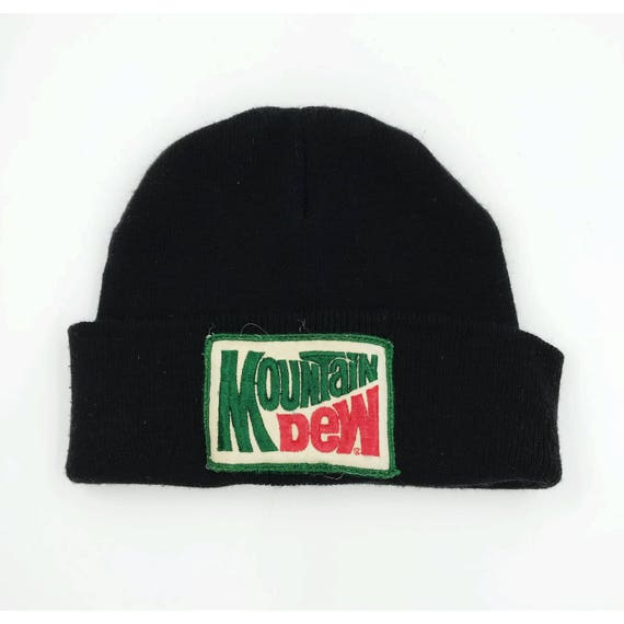 Mountain Dew Vintage Patch Beanie - Black Beanie Hat Soda Logo Toboggan Unisex Upcycled Grunge Accessory - Mt. Dew Patched Winter Accessory