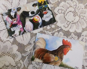 Cow Magnets, Chicken Magnet, farm animal art, humorous cows, two magnet set
