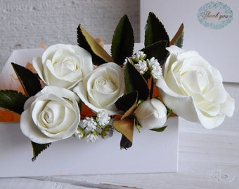 Ivory real touch flower hair pins Ivory flower rose hair piece Baby breath Wedding bridal headpiece Green leaves hair White gypsophila