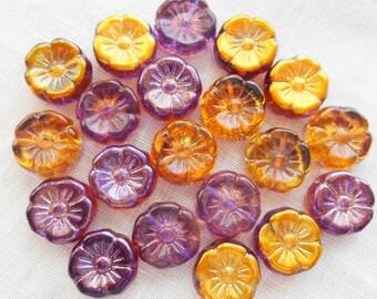 Lot of ten 12mm purple & gold AB Czech glass flower beads, pressed glass flower beads, C80101